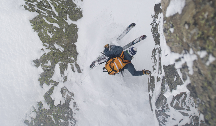 Andreas fransson skiing steep couloir in Chamonix, France